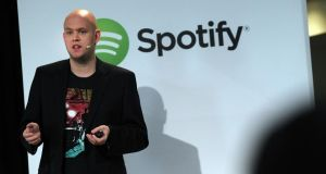 Spotify CEO Daniel Ek announces that the online streaming music service will expand to 20 new markets around the world and that it has worked out a deal with Led Zeppelin. photograph: spencer platt/getty images