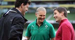 Ronan O'Gara (right), with Joe Schmidt and Shane Horgan.