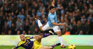 Sergio Aguero is no wimp, contrary to what Diego Maradona has to say. Photograph: Alex Livesey/Getty Images