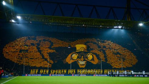 The artistic effort of Borussia Dortmund fans ahead of their Uefa Champions League quarter-final second leg against Malaga at Signal Iduna Park in April.  Photograph: Dennis Grombkowski/Bongarts/Getty Images