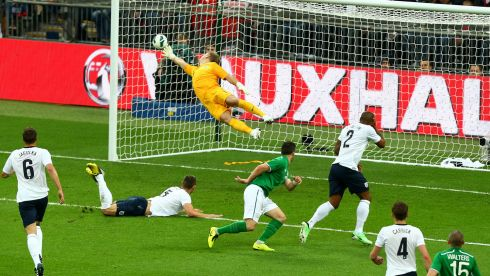 Shane Long (centre) of Republic of Ireland steers the ball past England goalkeeper Joe Hart at Wembley Stadium on May 29th. Photograph: The FA via Getty Images)