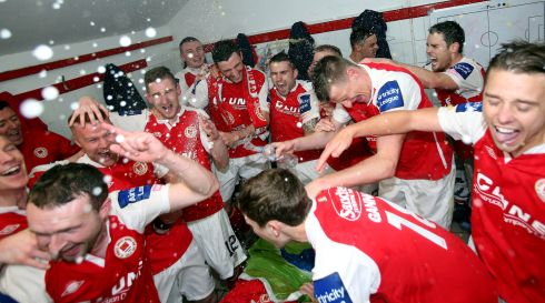 St Patrick's Athletic celebrate winning the League of Ireland Premier Division after victory over defending champions Sligo Rovers at Richmond Park in OCtober. Photograph: Donall Farmer/Inpho