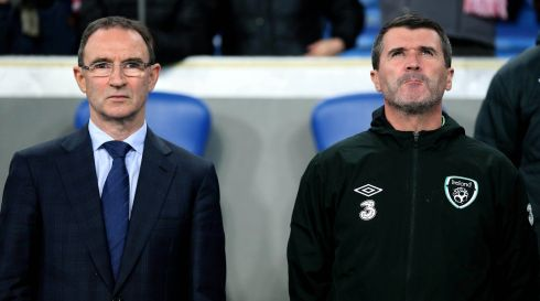 Republic of Ireland manager Martin O'Neill and assistant manager Roy Keane stand for the anthems on Poznan ahead of the friendly with Poland in November.  Photograph: Donall Farmer/Inpho
