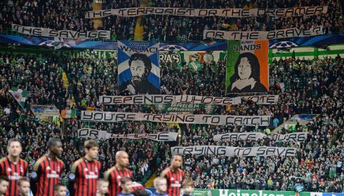 Celtic supporters make a statement in protest at new laws in Scotland outlawing political rhetoric inside football grounds.  Photo by Jeff J Mitchell/Getty Images