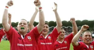 The win that turned the tide as Munster players including Marcus Horan, David Wallace, Jason Holland and Peter Stringer  celebrate the semi-final success over Toulouse in 2000. Photograph: Bob Edme/AP Photo