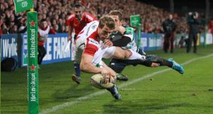 Ulster's Andrew Trimble scores against Treviso last weekend.