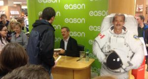 Cmdr Chris Hadfield signing copies of his book in Easons today. Photograph: Ronan McGreevy