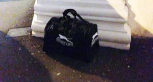 Photograph issued by the PSNI of a holdall which contained a bomb which exploded in the bustling Cathedral Quarter district of Belfast city centre just before 7pm last night.