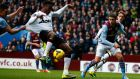 Manchester United's Danny Welbeck  scores his first goal against Aston Villa during the English Premier League clash  at Villa Park.
