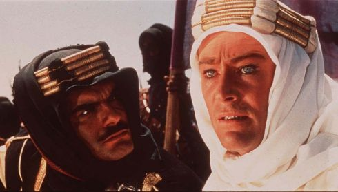 Peter O'Toole as TE Lawrence, with co-star Omar Sharif, from the iconic 1962 film Laurence of Arabia
