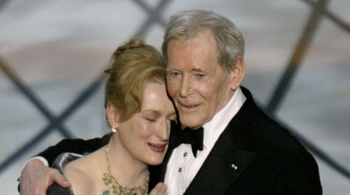 With Meryl Streep after he received an honorary Oscar for lifetime achievement at the 75th annual Academy Awards 2003 in Hollywood.  Photograph: Mike Blake/Reuters