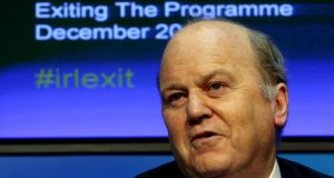 Minister for Finance Michael Noonan at a press conference as part of day-long briefings to mark the exit from the Republic's financial bailout. Photograph: Brian Lawless/PA Wire
