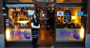 Anna Young, outside her Accents Coffee and Tea Lounge. Photograph: Aidan Crawley