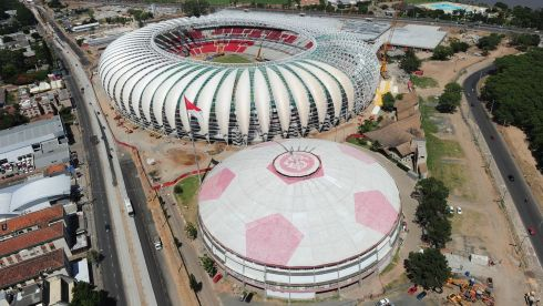 Aerial view of the Beira Rio stadium in Porto Alegre. Photograph: Shaun Botterill/Getty Images