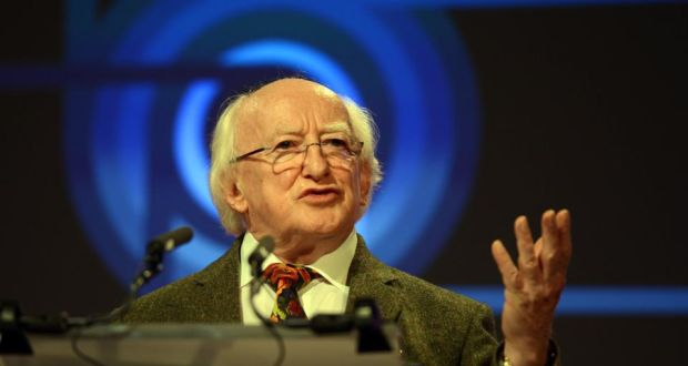In a speech at DCU, President Michael D Higgins Higgins said he strongly believed a new approach, not focused on the markets and their values, was needed when looking at how society should be measured.  Photograph: Cyril Byrne