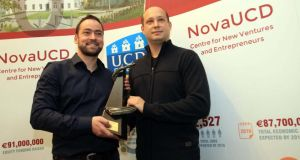 Dr Trevor Parsons and Dr Viliam Holub, co-founders of UCD spin-out company Logentries, after receiving the NovaUCD 2013 Innovation Award.