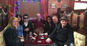 Victoria Mary Clarke, second from left, beside her partner, Shane MacGowan, followed by Gerry O'Boyle. Far right, Chris Gascoyne, who plays Peter Barlow
