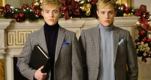 John and Edward in grey flannel diced check jackets (€749) from Louis Copeland in the Merrion Hotel. Photograph: Alan Betson