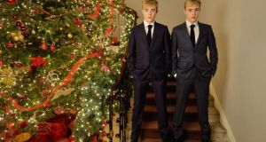 John and Edward Grimes aka Jedward in the The Merrion Hotel, The Front Hall, Upper Merrion Street, Dublin 2 wearing Kennedy Blue suit in superfine wool (€745) from Louis Copeland. Photograph: Alan Betson