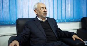 Rachid Ghannouchi, the leader of the Islamist party Ennahda,  at party headquarters in Tunis. Photograph: Samuel Aranda/The New York Times