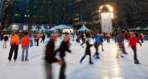 The ice rink in Bryant Park, Manhattan at Christmas