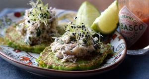 Sweet pea pancakes with crab