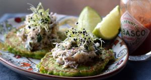 Pea pancakes with crab. Photograph: Brenda Fitzsimons