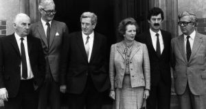 Peter Barry, Douglas Hurd, Garret FitzGerald, Margaret Thatcher, Dick Spring and Geoffrey Howe at Chequers before the 1983 summit. Photograph: Keystone/Getty Images