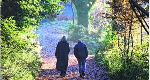Conor Pope  with Fr Columba at Glenstal Abbey. Photograph: Bryan O'Brien
