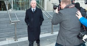 Former director of finance of Irish Life and Permanent Peter Fitzpatrick leaving court today. Photograph: Collins Courts.