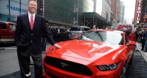 Ford chief executive Alan Mulally unveils the 2015 Ford Mustang in New York earlier this month.