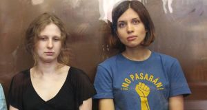 Nadezhda Tolokonnikova and Maria Alyokhina of Pussy Riot, who will be released from jail as early as today, after a wide-ranging amnesty law was passed by Russia's parliament yesterday. Photograph: EPA/Maxim Shipenkov