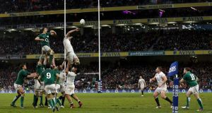 Action from last season's Six Nations match between Ireland and England. A meeting of the Six Nations board on January 21st is set to decide on the adoption of the IRB concussion protocols.   Photograph: Getty Images