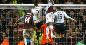 West Ham's Modibo Maiga heads home the winner in last night's game at White Hart Lane.