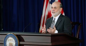 US Federal Reserve chairman Ben Bernanke responds to reporters during his final planned news conference before his retirement, at the Federal Reserve Bank headquarters in Washington,last night. Photo: Reuters