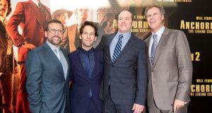 Steve Carell (left) with fellow funnymen Paul Rudd, David Koechner and Will Ferrell at the Sydney premiere of Anchorman 2