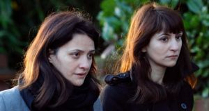 Elisabetta (L) and Francesca Grillo (R),  arrive at Isleworth Crown Court in London today. Photograph: Tal Cohen/EPA