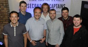 The Second Captains team, from left: Simon Hick, Ciaran Murphy, Ken Early, Eoin McDevitt and Mark Horgan, Malachy Logan, sports editor of The Irish Times (centre left) and Malachy Clerkin, sports reporter (extreme right). The team's sudden departure from Newstalk's Off the Ball programme was one the biggest talking points in Irish radio this year. Photograph: Dave Meehan