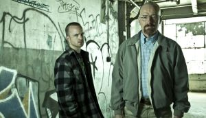 Jesse Pinkman (Aaron Paul) and Walter White (Bryan Cranston) in Breaking Bad.  Parting from this breathtaking show was sweet sorrow indeed.  Photograph: Frank Ockenfels/AMC