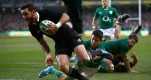 Ryan Crotty crosses for New Zealand's winning try against Ireland at the Aviva Stadium last month. Photograph: getty Images