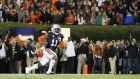 Chris Davis  of the Auburn Tigers returns a missed field goal for the last-gasp winning touchdown in their 34-28 win over the Alabama Crimson Tide at Jordan-Hare Stadium on November 30th in Auburn, Alabama. Photograph:  Kevin C Cox/Getty Images