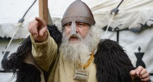 """Look, no horns."" Viking historian Iain Barber at the Rose and Viking festival in St Anne's Park, Raheny, in 2012. Photograph: Alan Betson"
