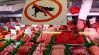 A butcher's 'no horsemeat' sign after the scandal broke this year. Photograph: Darren Staples/Reuters