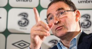 Republic of Ireland manager Martin O'Neill makes his point at yesterday's press conference in Blanchardstown. Photograph: Morgan Treacy/Inpho