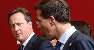 British prime minister David Cameron  and Dutch prime minister Mark Rutte  during the first day of a European Council summit in Brussels yesterday. Photograph: Thierry Roge/EPA