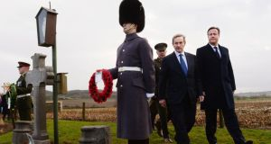 Taoiseach Enda Kenny and British prime minister David Cameron visiting the grave of Irish MP Willie Redmond who died in the first World War. Photograph: PA Wire