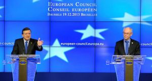 European Commission president Jose Manuel Barroso (L) and European Council president Herman Van Rompuy address a news conference during a European Union leaders summit in Brussels this morning. Photograph: Laurent Dubrule/Reuters.