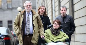 Marie Fleming with her partner Tom Curran (left) ,daughter Corrinna Moore, and family friend Brendan Gainey at the High Court in January this year after she lost her case challenging the absolute ban on assisted suicide. Photograph: Alan Betson/The Irish Times