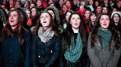 Georgia McCann, Ele Quinn, Sarah Caine and Ellen McQuade pictured singing at the Stars Choirs and Carols Guinness book of records attempt at Croke Park. Photograph: Aidan Crawley
