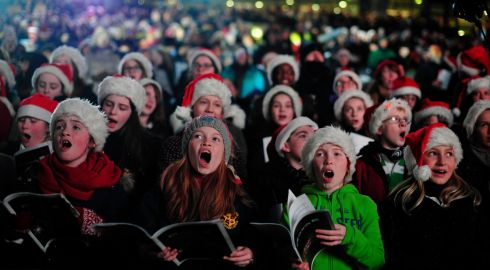 Sarah Crowe, Emily Doyle, Maria Doyle and Katie Stoker Phelan from The RTE Cor na nOg Choir pictured singing at the Stars Choirs and Carols Guinnes book of records attempt in Croke Park. Photograph: Aidan Crawley